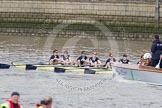 The Boat Race 2012: The Goldie/Isis Boat Race: Isis in the lead, with bow Thomas Hilton, Chris Fairweather, Julian Bubb-Humfryes, Ben Snodin, Joseph Dawson, Geordie Macleod, Justin Webb, stroke Tom Watson, cox Katherine Apfelbaum, behind umpire Richard Phelp..     on 07 April 2012 at 13:46, image #176