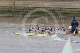 The Boat Race 2012: The Goldie/Isis Boat Race: Isis in the lead, with bow Thomas Hilton, Chris Fairweather, Julian Bubb-Humfryes, Ben Snodin, Joseph Dawson, Geordie Macleod, Justin Webb, stroke Tom Watson, cox Katherine Apfelbaum, behind umpire Richard Phelp..     on 07 April 2012 at 13:47, image #177