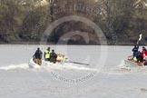 The Boat Race 2012: The Goldie/Isis Boat Race: Approaching the Middlesex bend, Goldie on the left, on the right umpire Richard Phelps..     on 07 April 2012 at 13:47, image #178