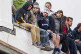 The Boat Race 2012: Spectators waiting for the start of the 2012 Boat Race on the roof of one of the boathouses on Surrey Embankment..     on 07 April 2012 at 13:56, image #204
