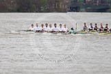 The Boat Race 2012: The 2012 Boat Race, shortly after the start: In the foreground the Cambridge Blue Boat, with David Nelson, Moritz Schramm, Jack Lindeman, Alex Ross, Mike Thorp, Steve Dudek, Alexander Scharp, Niles Garret, and cox Ed Bosson, in the Oxford boat Dr. Alexander Woods, William Zeng, Kevin Baum, Alex Davidson, Karl Hudspith, Dr. Hanno Wienhausen, Dan Harvey, stroke Roel Haen, and cox Zoe de Toledo..     on 07 April 2012 at 14:17, image #271