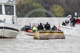 The Boat Race 2012: The 2012 Boat Race, with the boats approaching the Middlesex Bend: On the right the Oxford Blue Boat, with the race umpire behind..     on 07 April 2012 at 14:17, image #274