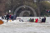The Boat Race 2012: The 2012 Boat Race, with the boats approaching the Mile Post: The Oxford Blue Boat, with the boat carrying the race umpire and TV crews on the left..     on 07 April 2012 at 14:17, image #278