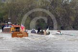 The Boat Race 2012: The 2012 Boat Race, with the boats approaching the Mile Post: The Cambridge Blue Boat, with the a part of the flotilla behind..     on 07 April 2012 at 14:18, image #280