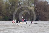 The Boat Race 2012: The 2012 Boat Race, with the boats approaching the Mile Post: The Cambridge Blue Boat on the left, Oxford Blue Boat on the right, and the boat carrying the race umpire and TV crews behind and in the middle..     on 07 April 2012 at 14:18, image #283