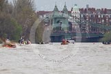 The Boat Race 2012: The 2012 Boat Race, with the boats approaching Hammersmith Bridge: The Cambridge Blue Boat on the left, nearly covered by the boat of the umpire, and the Oxford Blue Boat on the right..     on 07 April 2012 at 14:20, image #296