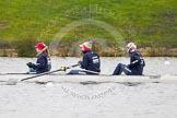 The Boat Race season 2013 - fixture OUWBC vs Molesey BC: OUWBC three, Mary Foord Weston, two, Alice Carrington-Windo and bow Mariann Novak.. Dorney Lake, Dorney, Windsor, Berkshire, United Kingdom, on 24 February 2013 at 11:24, image #45