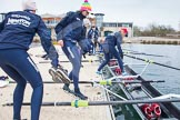 The Boat Race season 2013 - fixture OUWBC vs Molesey BC: The OUWBC Blue Boat crew getting ready for another training session at Dorney Lake - Bow Mariann Novak, Alice Carrington-Windo, Mary Foord Weston, Joanna Lee, Amy Varney, Harriet Keane, Anastasia Chitty and stroke Maxie Scheske.. Dorney Lake, Dorney, Windsor, Berkshire, United Kingdom, on 24 February 2013 at 11:15, image #31