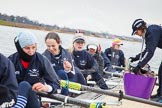 The Boat Race season 2013 - fixture OUWBC vs Molesey BC: OUWBC Anastasia Chitty, Harriet Keane, Amy Varney, Joanna Lee, Mary Foord Weston, Alice Carrington-Windo, Mariann Novak, and, on the right, cox Sophie Shawdon.. Dorney Lake, Dorney, Windsor, Berkshire, United Kingdom, on 24 February 2013 at 11:15, image #34