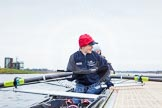 The Boat Race season 2013 - fixture OUWBC vs Molesey BC: The OUWBC Eight getting ready, in front stroke Maxie Scheske.. Dorney Lake, Dorney, Windsor, Berkshire, United Kingdom, on 24 February 2013 at 11:16, image #36