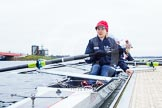 The Boat Race season 2013 - fixture OUWBC vs Molesey BC: The OUWBC Eight getting ready, in front stroke Maxie Scheske.. Dorney Lake, Dorney, Windsor, Berkshire, United Kingdom, on 24 February 2013 at 11:16, image #39