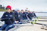 The Boat Race season 2013 - fixture OUWBC vs Molesey BC: Getting ready in the OUWBC boat: Maxie Scheske, Anastasia Chitty, Harriet Keane, Amy Varney, Joanna Lee, Mary Foord Weston, Alice Carrington-Windo, Mariann Novak.. Dorney Lake, Dorney, Windsor, Berkshire, United Kingdom, on 24 February 2013 at 11:16, image #41