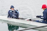 The Boat Race season 2013 - fixture OUWBC vs Molesey BC: OUWBC-cox Cox Sophie Shawdon and stroke Maxie Scheske.. Dorney Lake, Dorney, Windsor, Berkshire, United Kingdom, on 24 February 2013 at 11:17, image #42