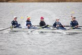 The Boat Race season 2013 - fixture OUWBC vs Molesey BC: OUWBC bow, Mariann Novak, two, Alice Carrington-Windo, three, Mary Foord Weston, four, Joanna Lee, and five , Amy Varney.. Dorney Lake, Dorney, Windsor, Berkshire, United Kingdom, on 24 February 2013 at 11:45, image #74
