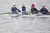 The Boat Race season 2013 - fixture OUWBC vs Molesey BC: OUWBC bow, Mariann Novak, two, Alice Carrington-Windo, three, Mary Foord Weston and four, Joanna Lee.. Dorney Lake, Dorney, Windsor, Berkshire, United Kingdom, on 24 February 2013 at 11:45, image #76