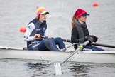 The Boat Race season 2013 - fixture OUWBC vs Molesey BC: OUWBC two, Alice Carrington-Windo, and three, Mary Foord Weston.. Dorney Lake, Dorney, Windsor, Berkshire, United Kingdom, on 24 February 2013 at 12:03, image #100