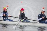 The Boat Race season 2013 - fixture OUWBC vs Molesey BC: OUWBC two, Alice Carrington-Windo, three, Mary Foord Weston, and four, Joanna Lee.. Dorney Lake, Dorney, Windsor, Berkshire, United Kingdom, on 24 February 2013 at 12:03, image #101