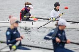 The Boat Race season 2013 - fixture OUWBC vs Molesey BC: Molesey BC bow-Nel Castle-Smith and two-Elly Blackwell in focus.. Dorney Lake, Dorney, Windsor, Berkshire, United Kingdom, on 24 February 2013 at 12:03, image #104