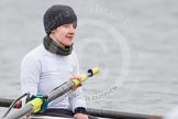 The Boat Race season 2013 - fixture OUWBC vs Molesey BC: Close-up of Molesey BC two-Elly Blackwell.. Dorney Lake, Dorney, Windsor, Berkshire, United Kingdom, on 24 February 2013 at 12:03, image #105