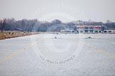 The Boat Race season 2013 - fixture OUWBC vs Molesey BC: The OUWBC boat on the left, Molesey BC on the right, racing towards the Dorney Lake boathouse.. Dorney Lake, Dorney, Windsor, Berkshire, United Kingdom, on 24 February 2013 at 12:06, image #116