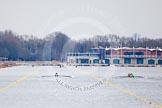 The Boat Race season 2013 - fixture OUWBC vs Molesey BC: The OUWBC boat on the left, Molesey BC on the right, racing towards the Dorney Lake boathouse.. Dorney Lake, Dorney, Windsor, Berkshire, United Kingdom, on 24 February 2013 at 12:06, image #117