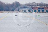The Boat Race season 2013 - fixture OUWBC vs Molesey BC: The OUWBC boat on the left, Molesey BC on the right, racing towards the Dorney Lake boathouse.. Dorney Lake, Dorney, Windsor, Berkshire, United Kingdom, on 24 February 2013 at 12:06, image #118