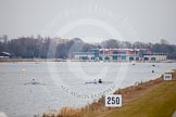 The Boat Race season 2013 - fixture OUWBC vs Molesey BC: The boathouse at Dorney Lake (Eton College Rowing Centre) seen from the eastern side of the lake.. Dorney Lake, Dorney, Windsor, Berkshire, United Kingdom, on 24 February 2013 at 12:09, image #119