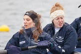 The Boat Race season 2013 - fixture OUWBC vs Molesey BC: OUWBC coxed four with stroke Coralie Viollet-Djelassi, and Eleanor Darlington.. Dorney Lake, Dorney, Windsor, Berkshire, United Kingdom, on 24 February 2013 at 12:15, image #123