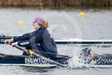 The Boat Race season 2013 - fixture OUWBC vs Molesey BC: OUWBC coxed four, here  bow Caitlin Goss and cox Sonya Milanova.. Dorney Lake, Dorney, Windsor, Berkshire, United Kingdom, on 24 February 2013 at 12:19, image #128