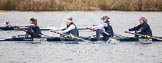 The Boat Race season 2013 - fixture OUWBC vs Molesey BC: OUWBC coxed four with stroke Coralie Viollet-Djelassi, Eleanor Darlington, Maria Mazza, and bow Caitlin Goss, cox is Sonya Milanova.. Dorney Lake, Dorney, Windsor, Berkshire, United Kingdom, on 24 February 2013 at 12:19, image #136