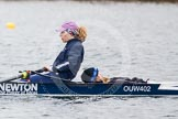 The Boat Race season 2013 - fixture OUWBC vs Molesey BC: OUWBC coxed four, here  bow Caitlin Goss and cox Sonya Milanova.. Dorney Lake, Dorney, Windsor, Berkshire, United Kingdom, on 24 February 2013 at 12:19, image #137