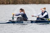 The Boat Race season 2013 - fixture OUWBC vs Molesey BC: OUWBC coxed four, here  stroke Coralie Viollet-Djelassi and Eleanor Darlington.. Dorney Lake, Dorney, Windsor, Berkshire, United Kingdom, on 24 February 2013 at 12:19, image #139