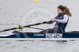 The Boat Race season 2013 - fixture OUWBC vs Molesey BC: French stroke Coralie Viollet-Djelassi in a CUWBC coxed four.. Dorney Lake, Dorney, Windsor, Berkshire, United Kingdom, on 24 February 2013 at 12:19, image #140