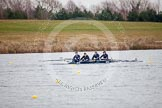 The Boat Race season 2013 - fixture OUWBC vs Molesey BC: OUWBC coxed four with stroke Hannah Ledbury , Emily Chittock, Rachel Purkess, bow Elspeth Cumber and cox Olivia Cleary,. Dorney Lake, Dorney, Windsor, Berkshire, United Kingdom, on 24 February 2013 at 12:19, image #142
