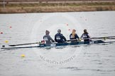 The Boat Race season 2013 - fixture OUWBC vs Molesey BC: OUWBC coxed four with cox Olivia Cleary, bow Elspeth Cumber, Rachel Purkess, Emily Chittock and stroke Hannah Ledbury.. Dorney Lake, Dorney, Windsor, Berkshire, United Kingdom, on 24 February 2013 at 12:31, image #144