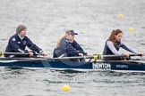 The Boat Race season 2013 - fixture OUWBC vs Molesey BC: OUWBC coxed four, here  Rachel Purkess, Emily Chittock and stroke Hannah Ledbury .. Dorney Lake, Dorney, Windsor, Berkshire, United Kingdom, on 24 February 2013 at 12:31, image #145