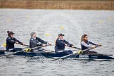 The Boat Race season 2013 - fixture OUWBC vs Molesey BC: OUWBC coxed four with cox Olivia Cleary, bow Elspeth Cumber, Rachel Purkess, Emily Chittock and stroke Hannah Ledbury.. Dorney Lake, Dorney, Windsor, Berkshire, United Kingdom, on 24 February 2013 at 12:31, image #146