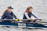 The Boat Race season 2013 - fixture OUWBC vs Molesey BC: OUWBC coxed four, here Emily Chittock and stroke Coralie Hannah Ledbury .. Dorney Lake, Dorney, Windsor, Berkshire, United Kingdom, on 24 February 2013 at 12:31, image #147