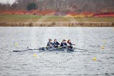 The Boat Race season 2013 - fixture OUWBC vs Molesey BC: OUWBC coxed four with cox Olivia Cleary, bow Elspeth Cumber, Rachel Purkess, Emily Chittock and stroke Coralie Viollet-Djelassi.. Dorney Lake, Dorney, Windsor, Berkshire, United Kingdom, on 24 February 2013 at 12:32, image #149