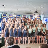 The Boat Race season 2013 - Crew Announcement and Weigh In: The 2013 Boat Race and Women's Boat Race crews, Oxford on the left and Cambridge on the right.. BNY Mellon Centre, London EC4V 4LA,  United Kingdom, on 04 March 2013 at 10:42, image #86