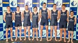 The Boat Race season 2013 - Crew Announcement and Weigh In: The 2013 Oxford Blue Boat crew, from left (bow) to right (cox), without 7 seat Constantine Louloudis: Patrick Close, Geordie Macleod, Alexander Davidson, Samuel O'Connor, Paul Bennet, Karl Hudspith, Malcolm Howard, and Oskar Zorilla.. BNY Mellon Centre, London EC4V 4LA,  United Kingdom, on 04 March 2013 at 10:45, image #88