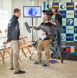 The Boat Race season 2013 - Crew Announcement and Weigh In: OUBC five seat Paul Bennet during a TV interview.. BNY Mellon Centre, London EC4V 4LA,  United Kingdom, on 04 March 2013 at 11:17, image #115