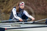 The Boat Race season 2013 - OUWBC training: At the bow of Osiris, the OUWBC reserve boat, Coralie Viollet-Djelassi.. River Thames, Wallingford, Oxfordshire, United Kingdom, on 13 March 2013 at 17:07, image #80