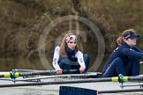 The Boat Race season 2013 - OUWBC training: At the bow of Osiris, the OUWBC reserve boat, Coralie Viollet-Djelassi, in the 2 seat Elspeth Cumber.. River Thames, Wallingford, Oxfordshire, United Kingdom, on 13 March 2013 at 17:07, image #81
