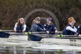 The Boat Race season 2013 - OUWBC training: At the bow of Osiris, the OUWBC reserve boat, Coralie Viollet-Djelassi, in the 2 seat Elspeth Cumber, 3 seat Hannah Ledbury, and 4 seat Eleanor Darlington.. River Thames, Wallingford, Oxfordshire, United Kingdom, on 13 March 2013 at 17:07, image #82