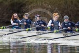 The Boat Race season 2013 - OUWBC training: Osiris, the OUWBC reserve boat: Bow Coralie Viollet-Djelassi, then Elspeth Cumber, Hannah Ledbury, Eleanor Darlington, Rachel Purkess, Caitlin Goss, Annika Bruger, and stroke Emily Chittock.. River Thames, Wallingford, Oxfordshire, United Kingdom, on 13 March 2013 at 17:07, image #83