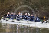 The Boat Race season 2013 - OUWBC training: Osiris, the OUWBC reserve boat: Bow Coralie Viollet-Djelassi, then Elspeth Cumber, Hannah Ledbury, Eleanor Darlington, Rachel Purkess, Caitlin Goss, Annika Bruger, Emily Chittock, and cox Sophie Shawdon.. River Thames, Wallingford, Oxfordshire, United Kingdom, on 13 March 2013 at 17:07, image #85