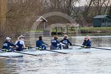 The Boat Race season 2013 - OUWBC training: The OUWBC Blue Boat during the training session - bow Mariann Novak, Alice Carrington-Windo, Mary Foord-Weston, Jo Lee, Amy Varney, Harriet Keane, Anastasia Chitty, stroke Maxie Scheske, and cox Katie Apfelbaum.. River Thames, Wallingford, Oxfordshire, United Kingdom, on 13 March 2013 at 17:10, image #96