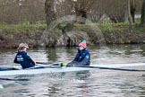 The Boat Race season 2013 - OUWBC training: In the OUWBC Blue Boat stroke Maxie Scheske and cox Katie Apfelbaum.. River Thames, Wallingford, Oxfordshire, United Kingdom, on 13 March 2013 at 17:12, image #103