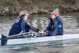 The Boat Race season 2013 - OUWBC training: In the OUWBC Blue Boat stroke Maxie Scheske and cox Katie Apfelbaum.. River Thames, Wallingford, Oxfordshire, United Kingdom, on 13 March 2013 at 17:12, image #104